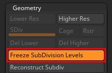ZBrush Freeze SubDivision Levels